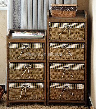 Straw Basket Drawer Small Moroccan Wooden Sm Furniture Cabinet
