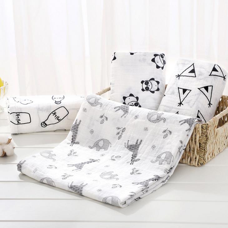 गर्म बिक्री कार्बनिक कपास या बांस बच्चे मलमल लपेटना कंबल