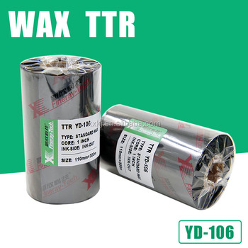 YD106 type 110mm*300m Zebra barcode printer used thermal transfer wax ribbon for label printing