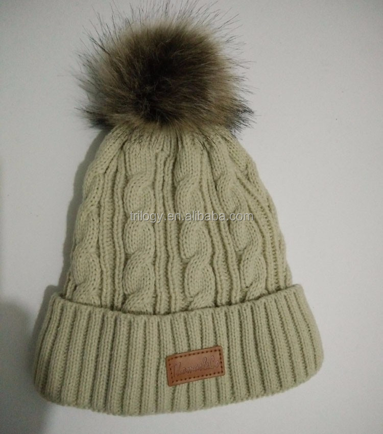 63f05d1a3de Wholesale Cable Knit Lady Fleece Lined Thermal Fur Pom Beanie Hats ...