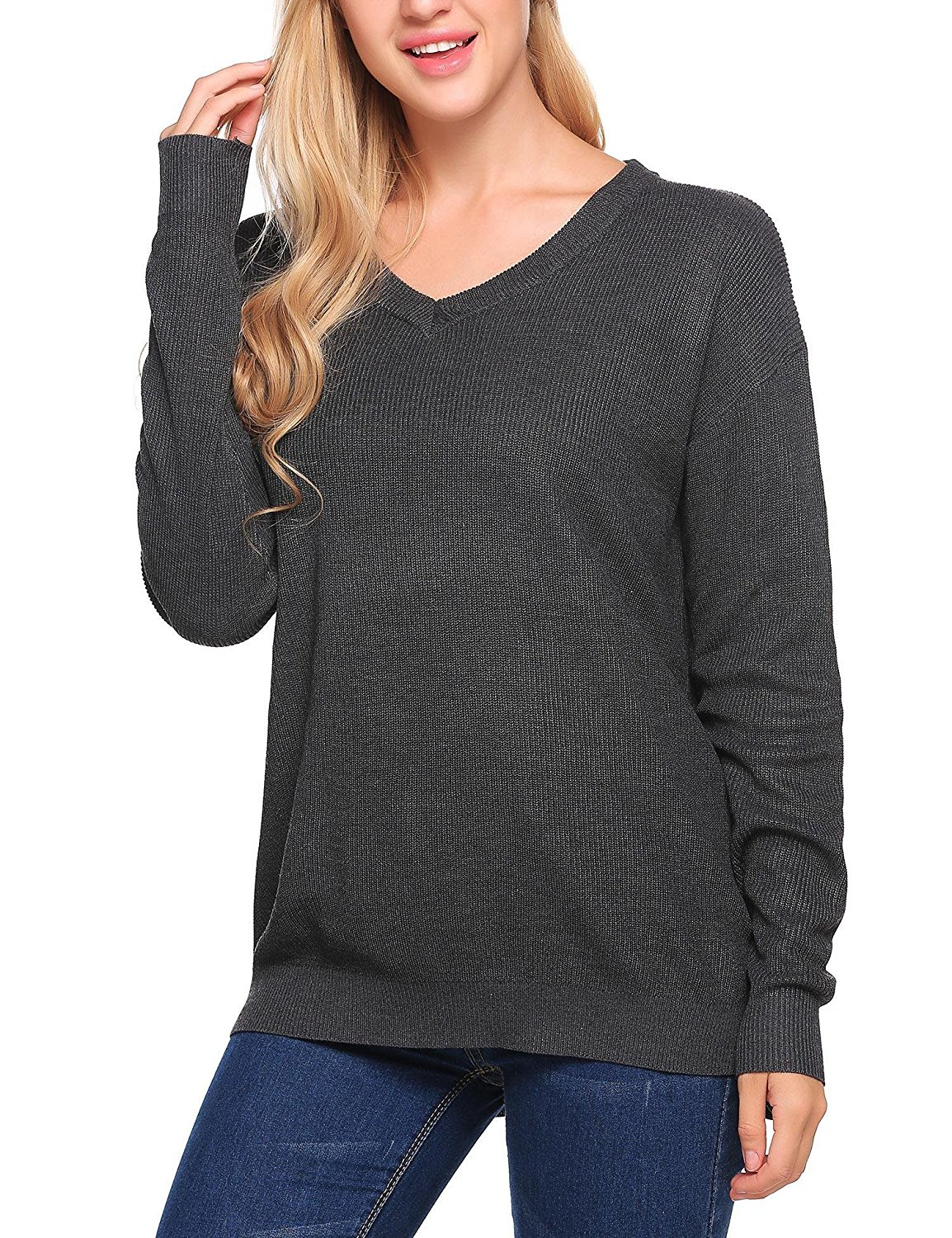 adcc7c9c232e95 Get Quotations · ELESOL Women Oversized Batwing Knitted Pullover Loose  Sweater Tee Tops Gray XL