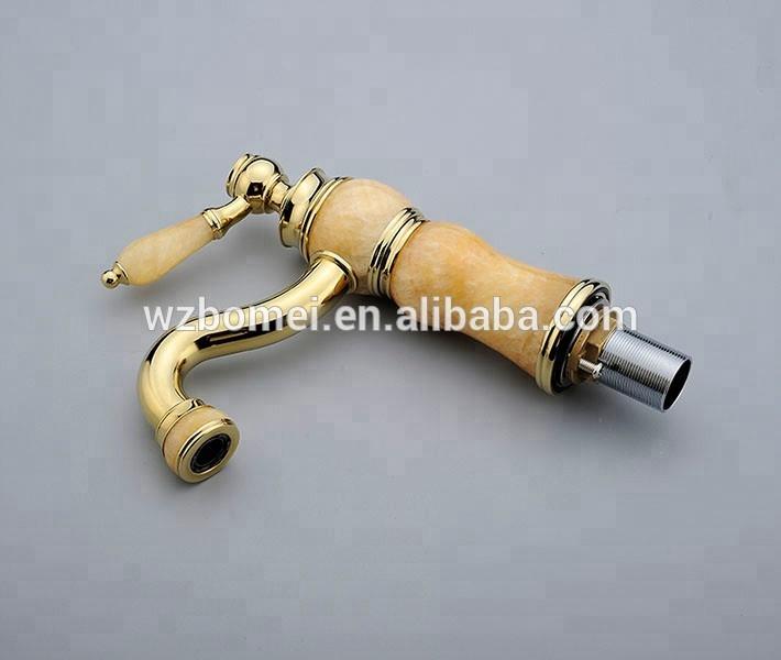 Classical gold finishing natural stone basin cabinet mixer torneiras para pia de banheiro