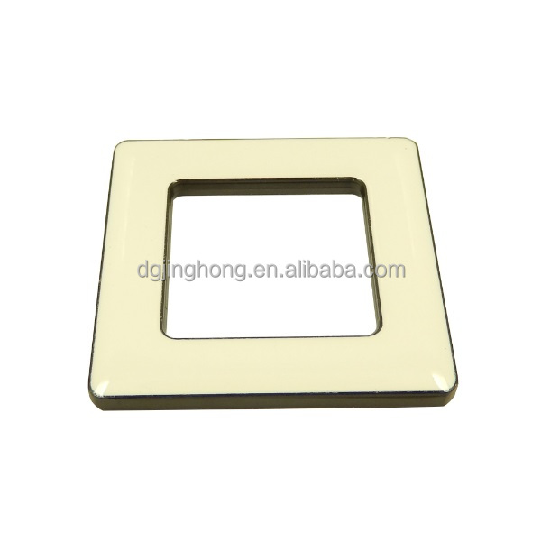 1 inch square metal buckle with white epoxy