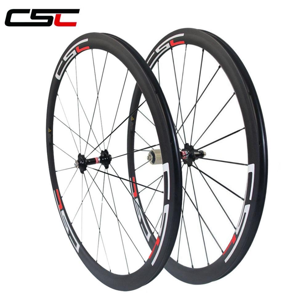 CSC Carbon Wheel 23mm Width 38mm Clincher Carbon Road bike Wheelset Basalt Brake Track