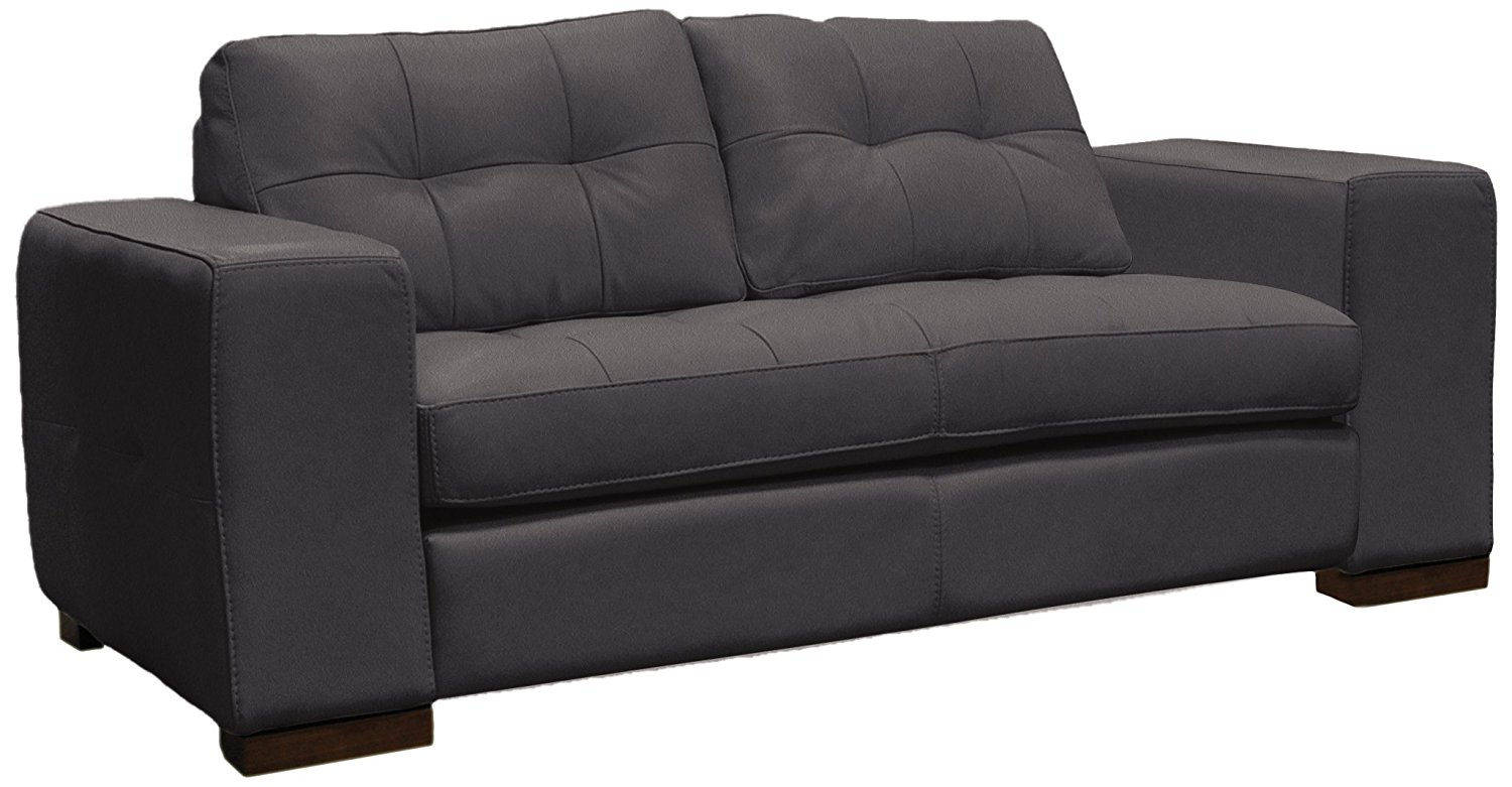 Omnia Leather Peninsula 1 Cushion Loveseat in Leather, Shadow Legs, Navajo Onyx