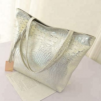 Designer fashion tote bag leather PU crocodile ladies' handbag