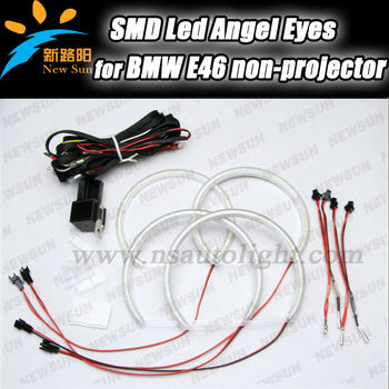 smd led angel eyes halo rings kit headlight for bmw e46. Black Bedroom Furniture Sets. Home Design Ideas
