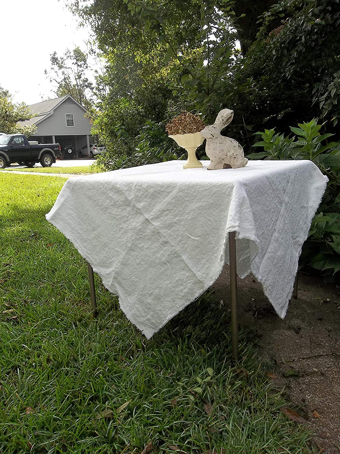 White Washed Linen Tablecloth Custom Sizes   White Linen Table Cloth   Classic Tablecloth
