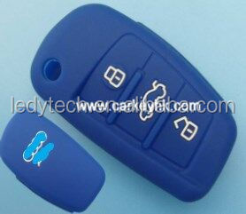 Blue color Silicone car key cover 3 buttons flip key bag silicone case for remote control A13/A4L/A5/A6L/A8L/Q357/S567