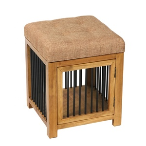Bailey Square Faux Linen Footrest Stool Pouf with Storage