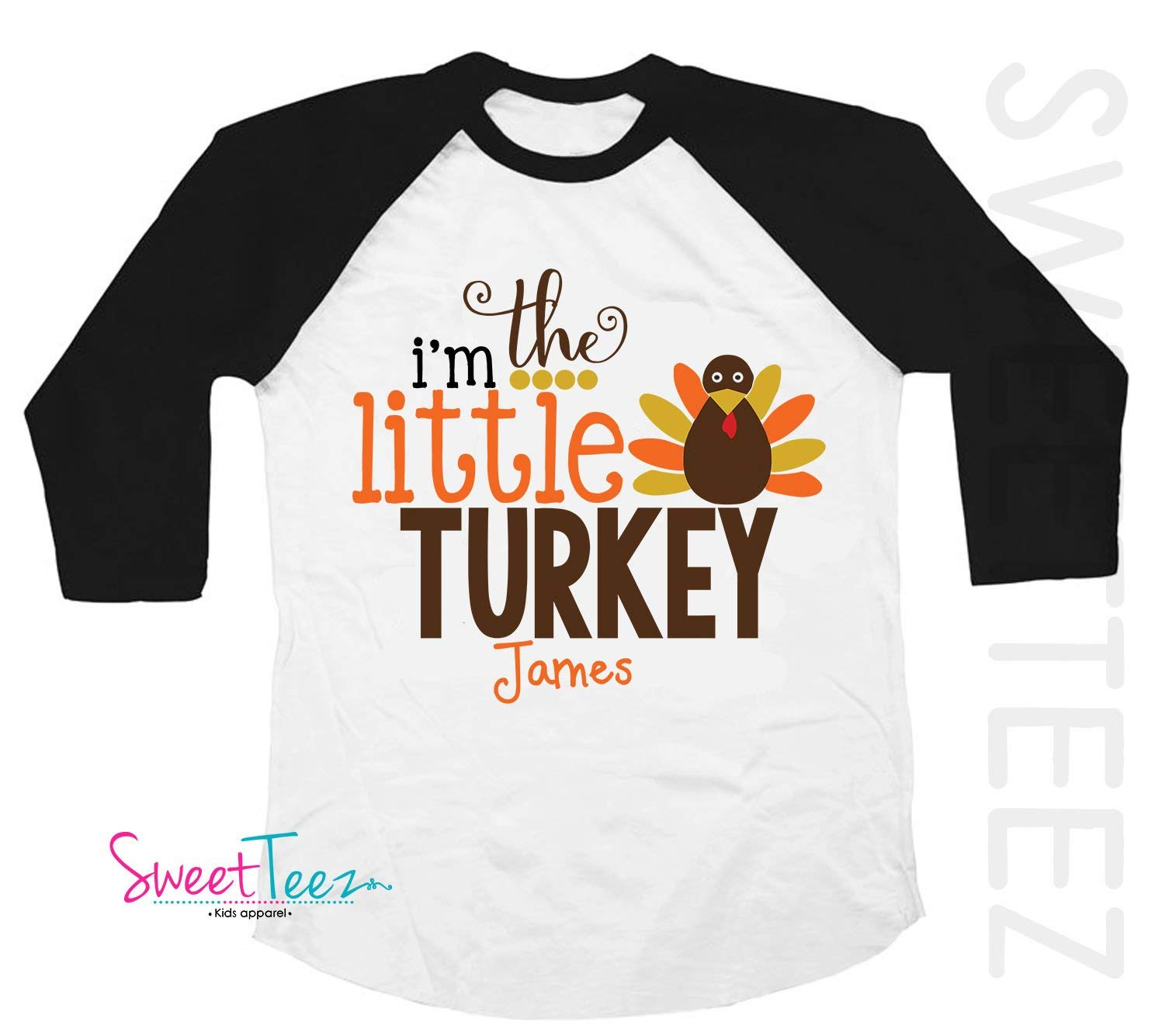 1f07788ae Get Quotations · Little Turkey Shirt Personalized Big Turkey Shirt Black  Sleeve Raglan Shirt Handmade for Thanksgiving