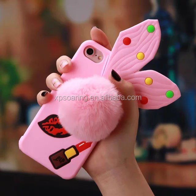 Bowknot silicone case for iPhone 7 with Pom-pom, for iPhone 7 cute case cover