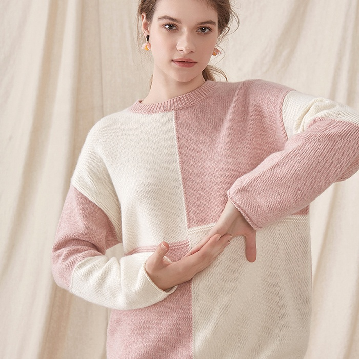 2019 High Quality Cozy Warm Stylish Plaid Woman Pullover Sweater Cashmere Knit