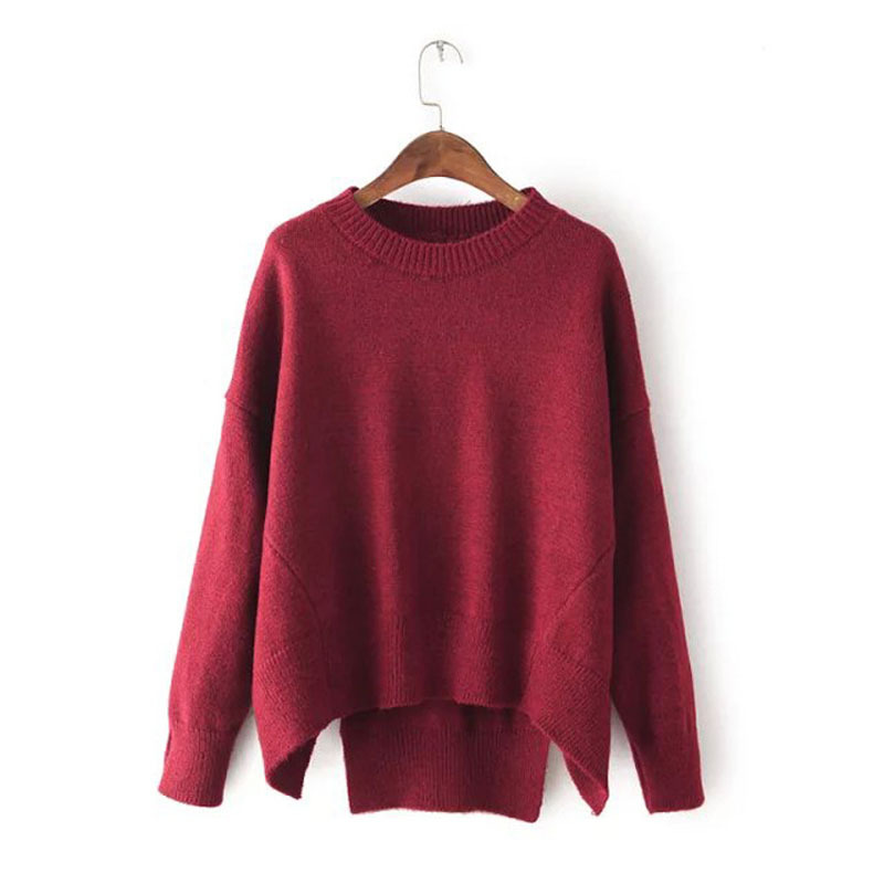 Oversized Women Cashmere Knitted O-Neck Irregular Hem Pullover Sweater Jumper Autumn Winter Long Sleeve Women Sweater C1793
