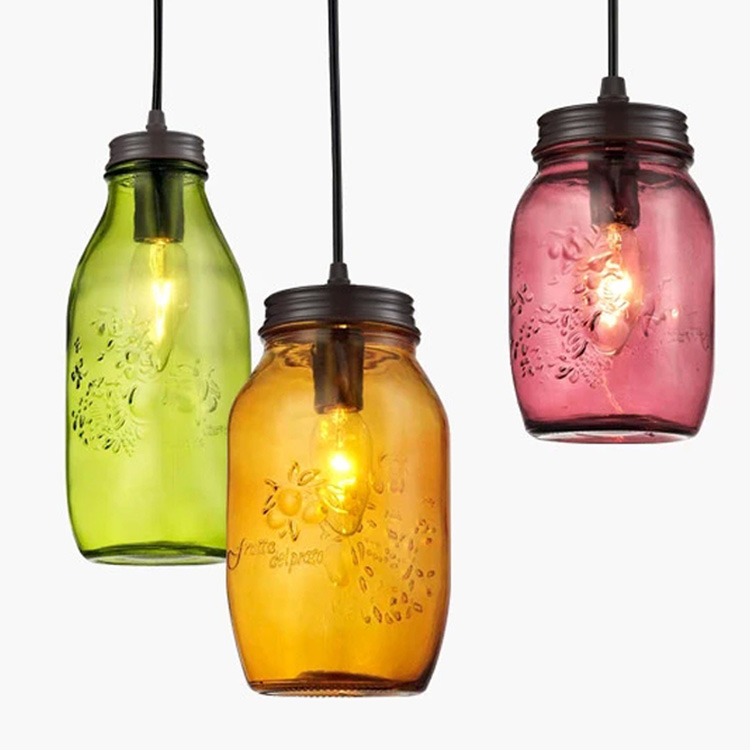 Glass ball pendant lights colourful cup pendant lamp for shop coffee hotel