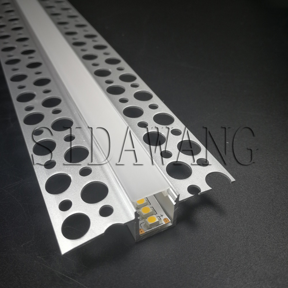 Recessed drywall plaster Aluminium led profile with long flange,Ceiling Led Alu channel for 10mm wide strip