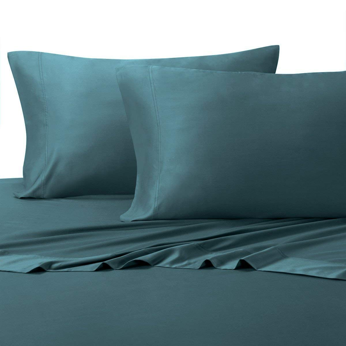 """Silky and Soft Bamboo Blend Sheets, 60% Viscose from Bamboo / 40% Cotton Hybird Weave Sheet Set, Hypo-Allergenic, 18"""" Pockets, Teal, 3 Piece Twin Extra Long (Twin XL) Size Deep Pocket Sheet Set"""