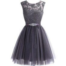 Милое короткое фиолетовое платье для выпускного вечера, мини-платье с бисером, кружевное платье для выпускного вечера, Тюлевое платье с кри...(Китай)