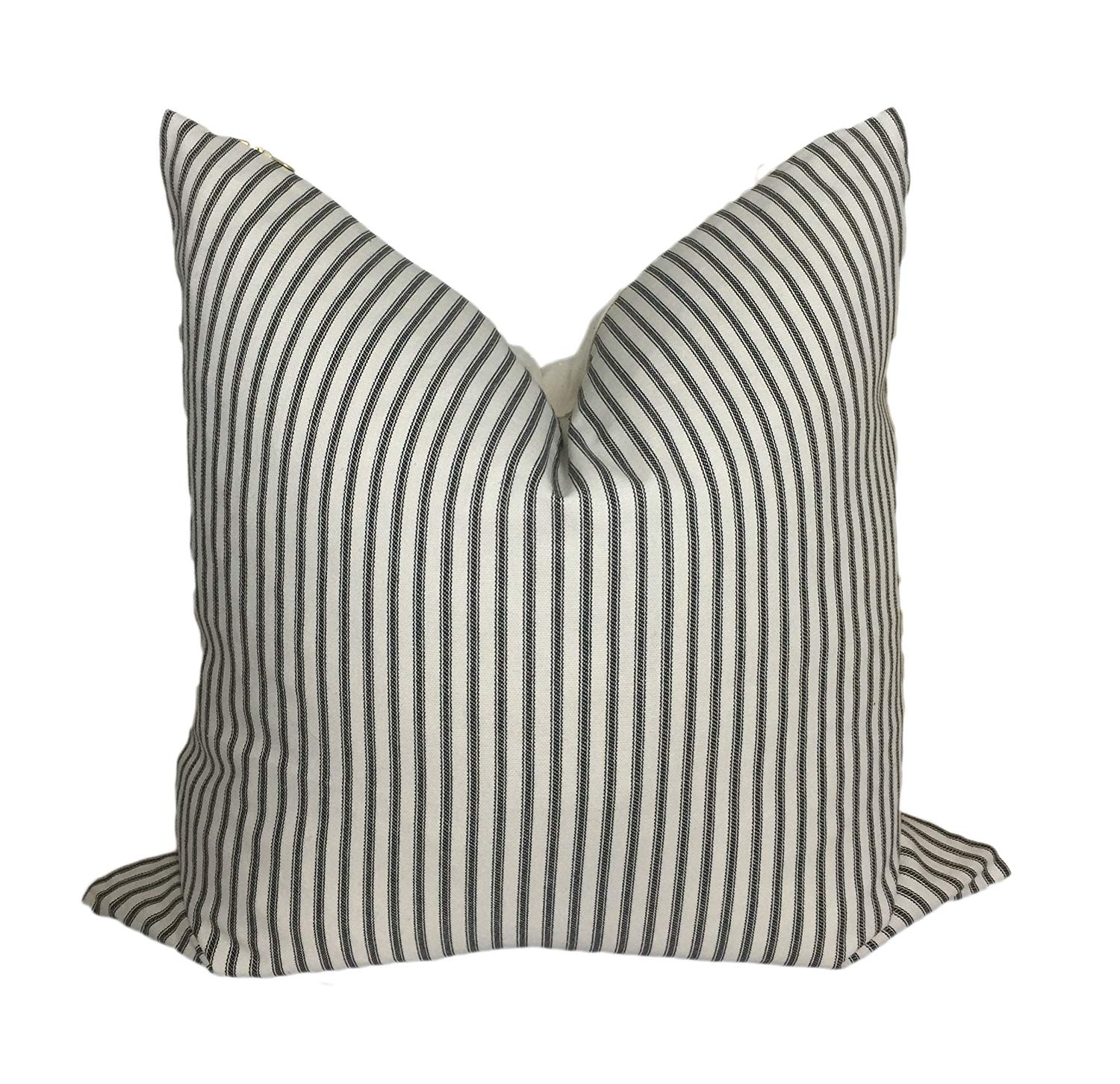 d8b24ff2612c Get Quotations · Ticking Stripe Pillow Cover | Neutral Pillow Covers | Gold  Brass Zipper | Designer Pillow Cover