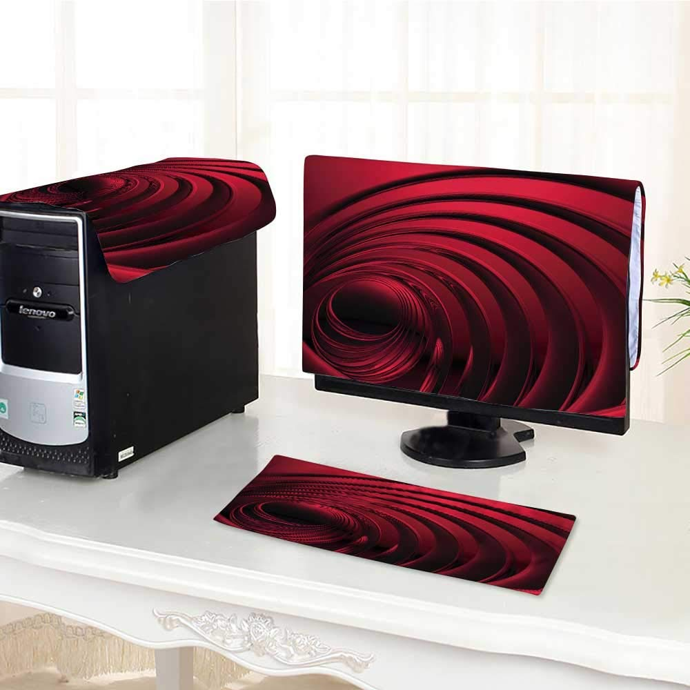 """UHOO2018 dust Cover for Computer 3 Pieces deep red Metal rs with b Suit Computer dust Cover /21"""""""