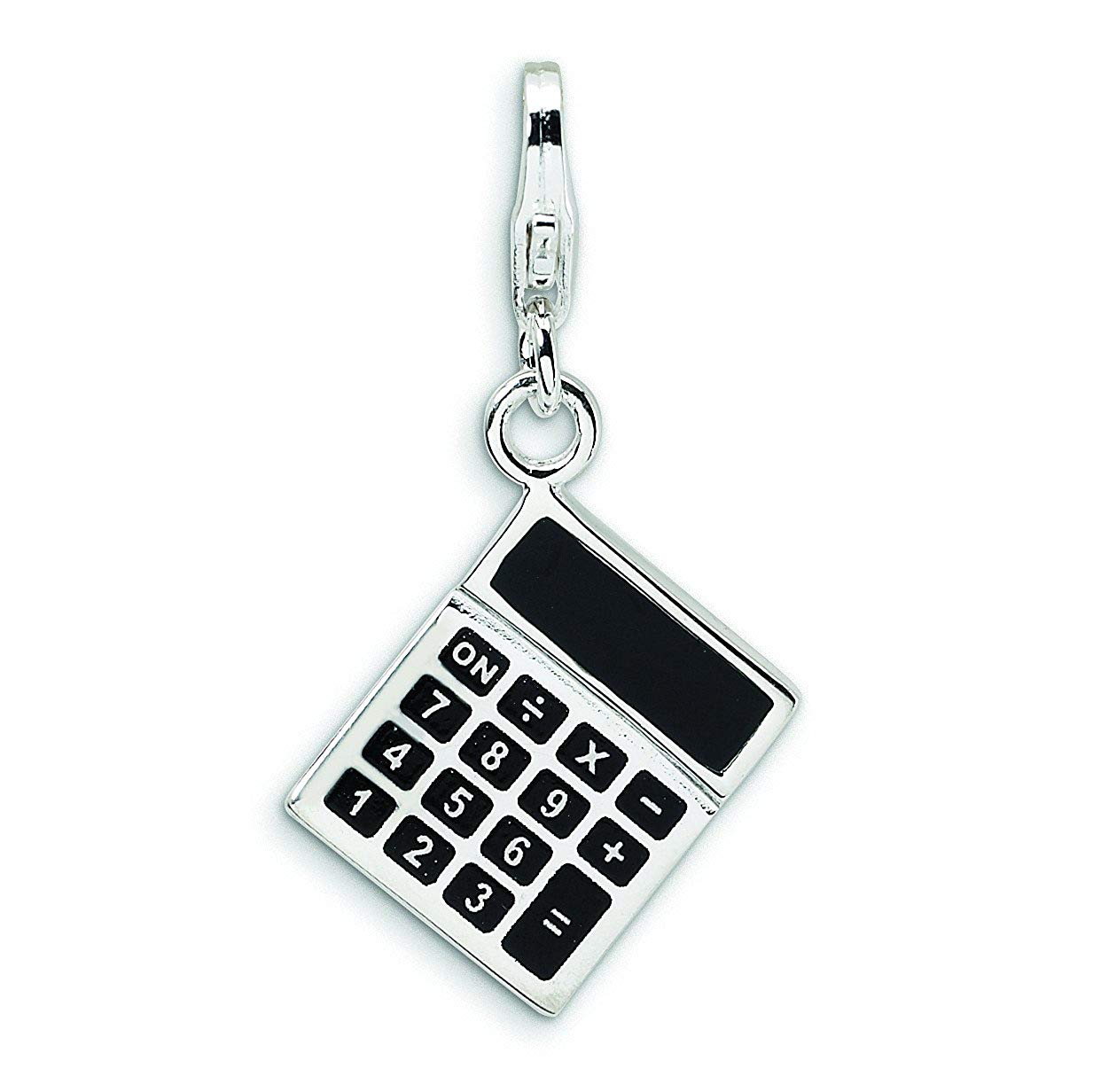 Sterling Silver 3-D Enameled Calculator W/Lobster Clasp Charm