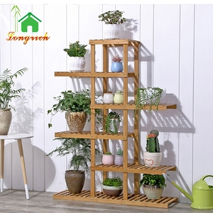 Natural bamboo bamboo flower pot shelf rack stand for home and garden