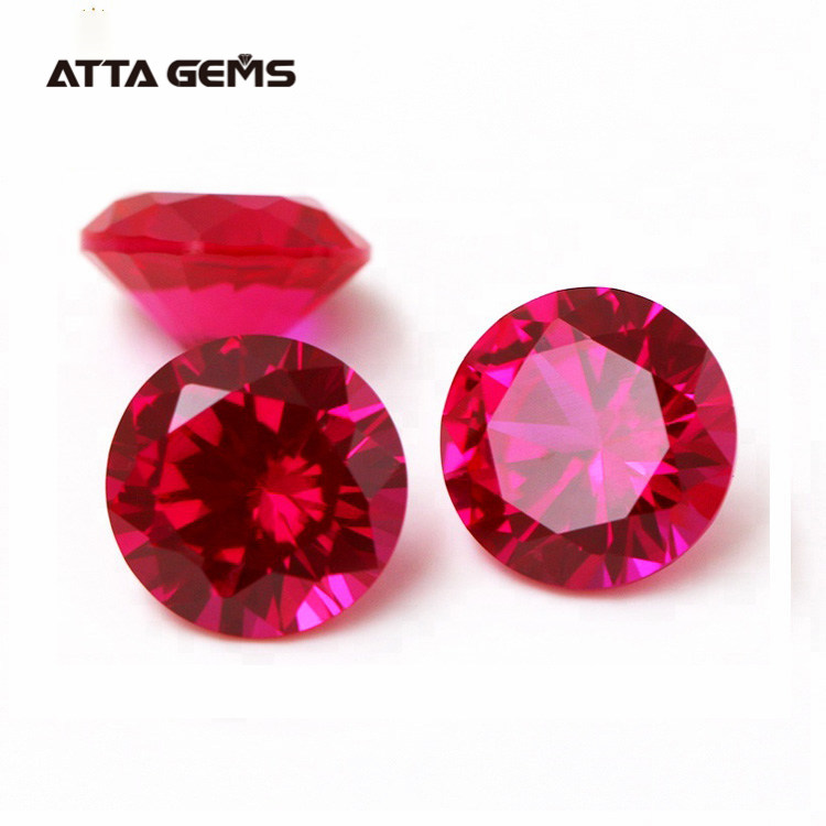 Minimum order 50pcs/Pack 1.0~6.0mm 5# Round Synthetic Corundum Synthetic Ruby <strong>Stone</strong> Prices