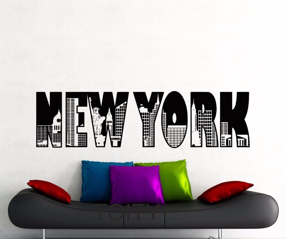 Aliexpress Com Buy 3 Pieces Wall Art New York City: New York Word Logo Wall Sticker Model NY City Buildings