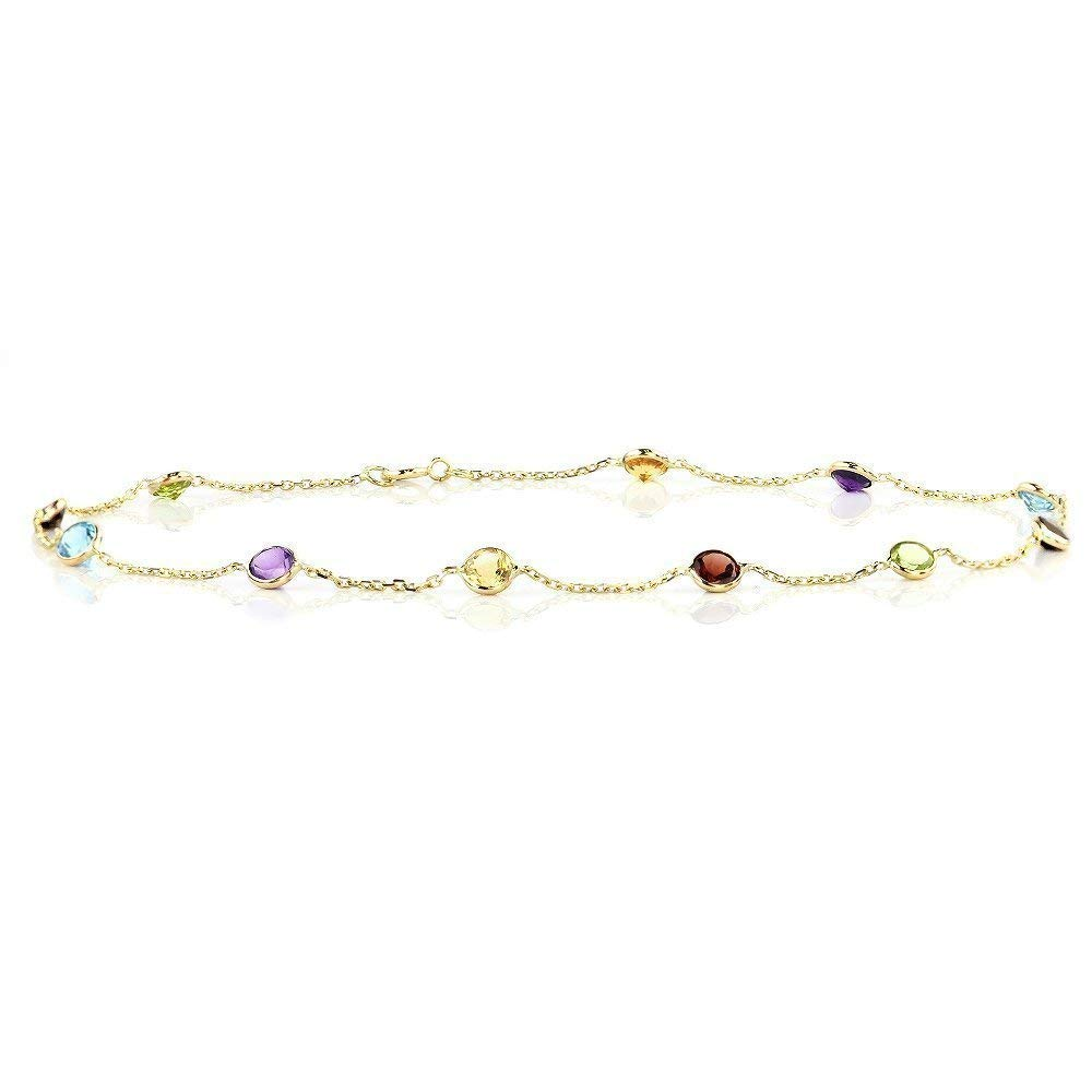 Handmade 14K Yellow Gold Anklet Bracelet With Pink Cubic Zirconia 9 Inches