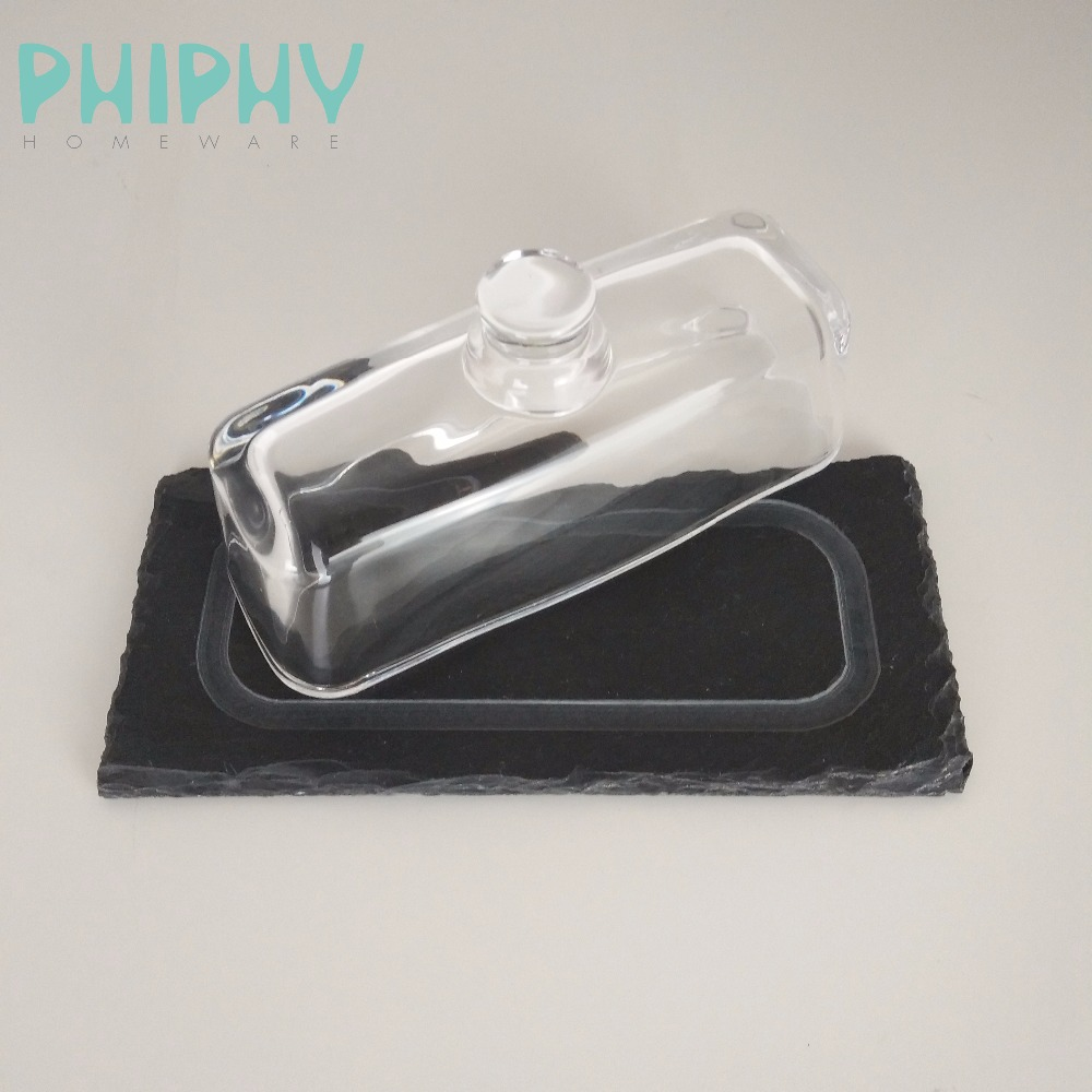 New hot sale black glass and slate cake plate