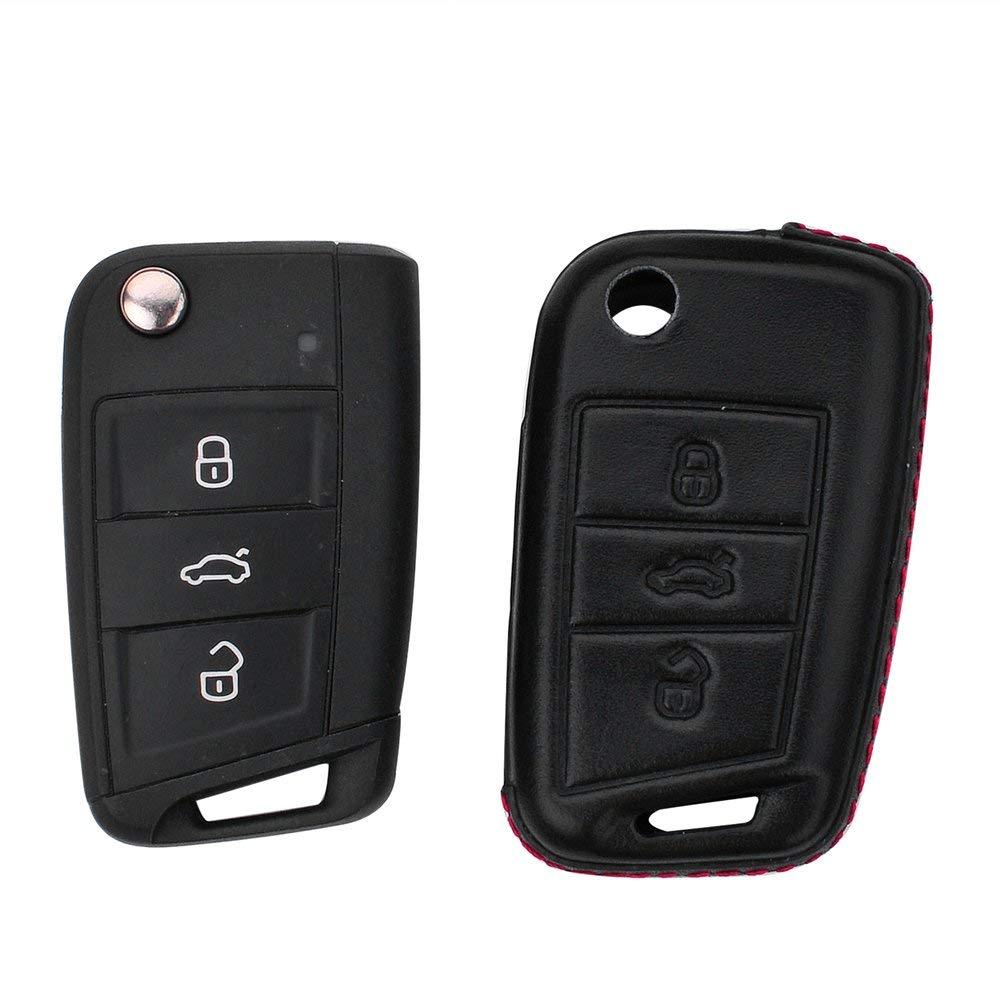 DAYJOY Premium Genuine Cow Leather Car Key Shell Cover With Key Chain For Volkswagen Golf 7 Superb Skoda Octavia Lamando SERIES remote control Smart Key(BLACK)