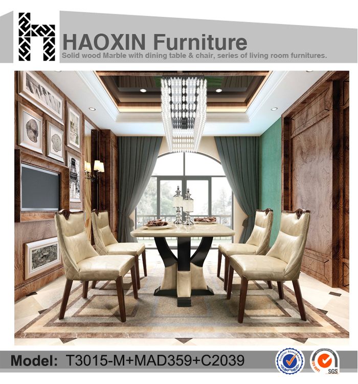 Cheap wood table and chairs marble top table
