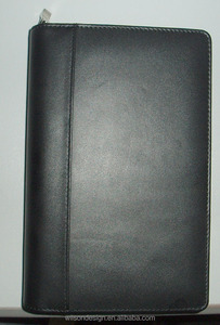 Simple style executivo a5 black synthetic leather portfolio folders with zipper for men