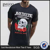 Custom Discharge print T-shirt 100% Cotton Longline Fashion T shirt For Men