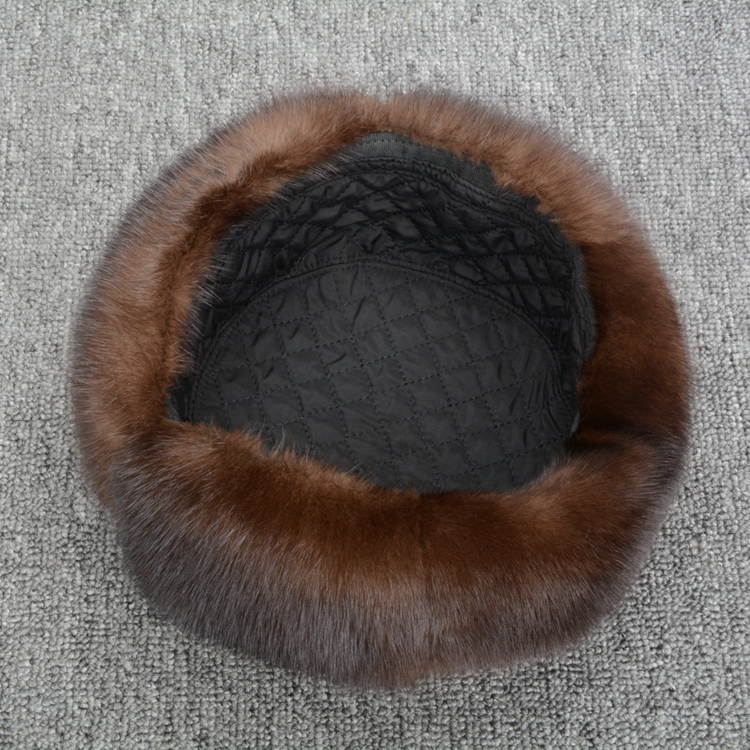 JKK FUR 2018 New Genuine Mink Fur Hats With Real Sheepskin Leather Winter Warm Casual Style Caps For Men S3074