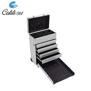 Customized silver trolley makeup aluminum tool flight case with drawers