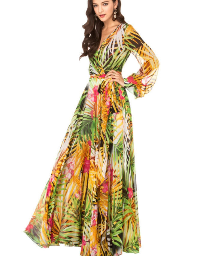 7837a58a556 Get Quotations · 2015 Summer Style Floral Print Long Maxi Dresses Sexy Long  Sleeve V Neck Chiffon Bohemian Dress