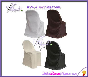 wholesale folding chair slip covers made of white basic poly fabric