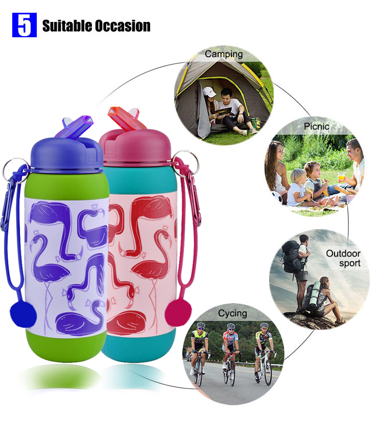 Plastic lid custom bpa free water bottle for kids foldable bottle