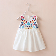 2016 New Baby Girls Dress Children Flower Embroidered Party Dresses Summer Kids Clothes for 3 7