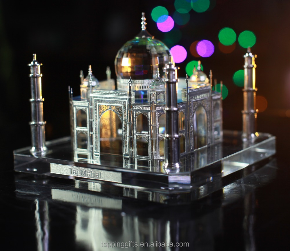 Indian Wedding Return Gift Crystal Silver Taj Mahal Model
