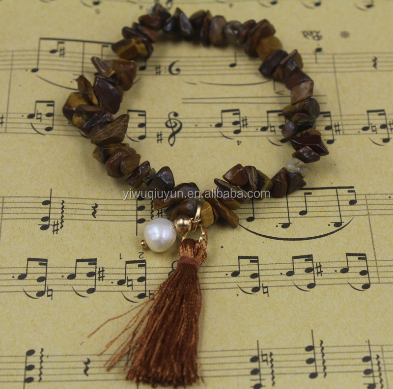New Mixed Hand-made Natural Stone Garnet Agate Lapis Crystal Tiger Eye Tassel Stretch Bracelet