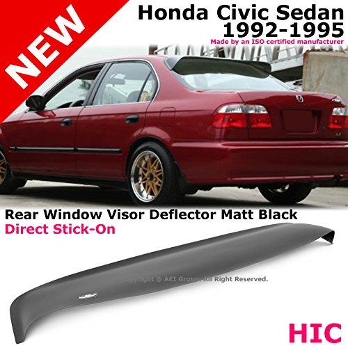 HIC Honda Civic 92-95 4D Matte Black Rear Roof Sun Window Visor Spoiler Stick On