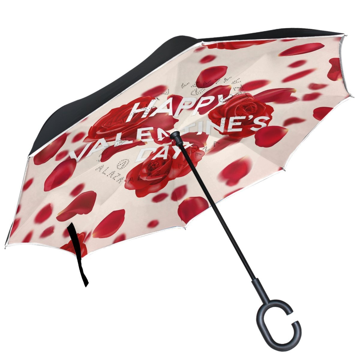 ALAZA Valentine Love Roses Petals Inverted Umbrella Double Layer Windproof Reverse Folding Umbrella for Car With C-Shape Handle