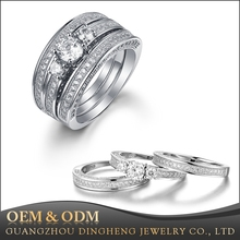 Hot sale 3 Pcs 925 Sterling Silver Rhinestone Simulated Diamond Engagement Wedding Ring Sets