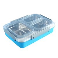 leak proof 3 Compartment stainless steel bento box