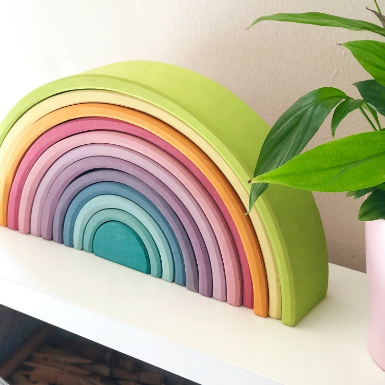 Big Rainbow Building Blocks Wood Balls Plate Figures Stacking Wooden Toy Rainbow Tower Toys
