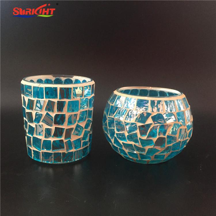 Mosaic Blue Art European Luxury Glass Candle Holder
