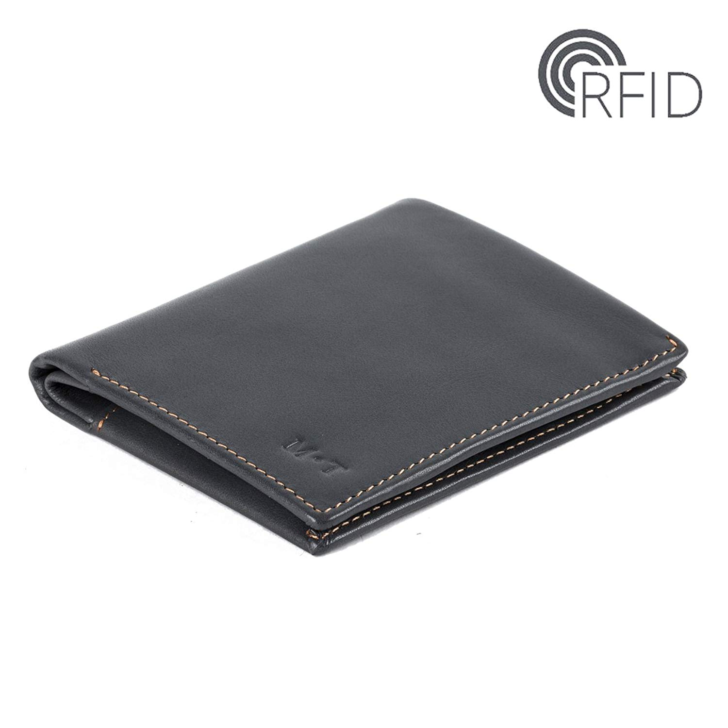 Italian Leather Slim RFID Wallet - Eco-friendly Leather Gentle Men's Slim Wallet with Coin Pocket,SD Card Slot