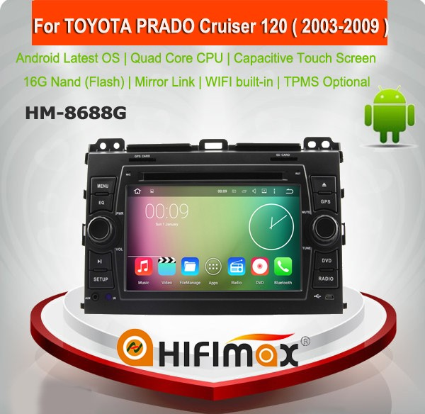HIFIMAX Android 5.1.1 car dvd gps for TOYOTA PRADO Cruiser 120 ( 2003-2009 ) support JBL system